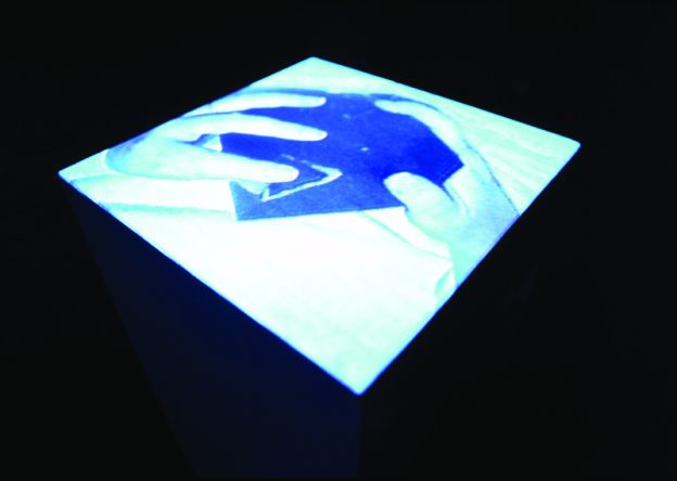 Touch 1 Variation, 2000, Interactive Installation. Marble cube, and video